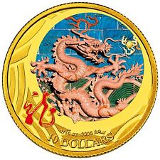 2012 Australian Lunar Year of the Dragon, 1/10 OZ Gold Coloured Proof RAM Coin