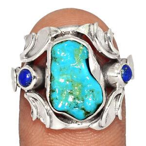 Sleeping Beauty Turquoise Rough & Lapis 925 Silver Ring Jewelry s.7 BR80333 267K