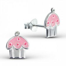 Childrens Girls Sterling Silver Pink Cupcake Stud Earrings with Crystals - Boxed