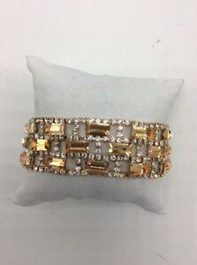 $48 Charter Club rose goldtone topaz colored stone crystal statement bracelet C6