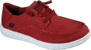 NEW Mens SKECHERS Melson Volgo Red WOVEN CANVAS Boat Sneaker Shoes AUTHENTIC