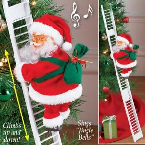 Animated Musical Santa Claus Electric Climbing Ladder Up Tree Christmas Decor