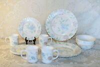 Arcopal CHLOE France Scalloped Pink Blue Flowers 16 Pc Set 4 Pc Plc Set Serv 4