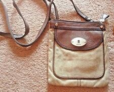 FOSSIL-MADDOX-Leather-metallic Small-Cross-Body-Messenger-Zip-Purse-Bag- guc