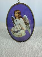Vintage Stained glass With Angel And flowers