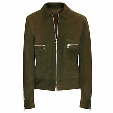 JIL SANDER distressed green suede leather zipper coat biker jacket 38-FR/6-US