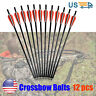 12pcs Crossbow Bolts Arrows Fiber Glass Shafts 12-18 inch Archery Target Hunting