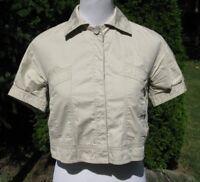Zara Basic Jacket Top Sz S Khaki Beige Cropped Cotton Small Womens