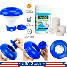 100g Pool Cleaning Tablet with Floating Chlorine Chemical Dispenser Tub Swim