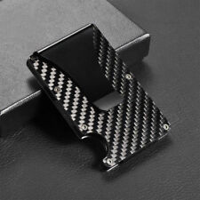 Men Slim Carbon Fiber Credit Card Holder RFID Non-scan Metal Wallet Money Clip