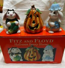 Fitz And Floyd Halloween Bunny Blooms Collection Tumblers lot of 3 figurines