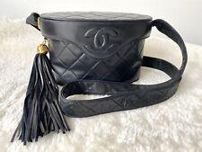 Autentico Chanel Vintage trapuntato borsa a tracolla in pelle (GHW)