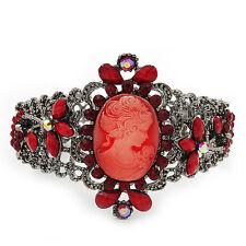 Estilo Victoriano Camafeo Rojo Diamante Pulsera Brazalete (acabado de metal de arma)