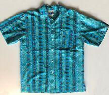 VintageSearsMen' s Store 80s Hawaiian Aloha Shirt Blue size M