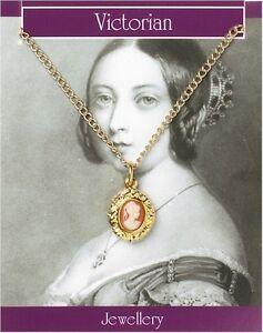 Victorian Cameo Pendant Gold Plated - Fancy Dress Ladies Decorative Vintage