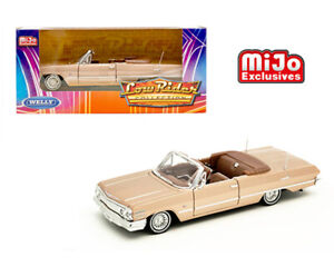 Welly 1:24 Mijo 1963 Gold Chevy Impala SS Convertible Low Rider Model 22434GLD