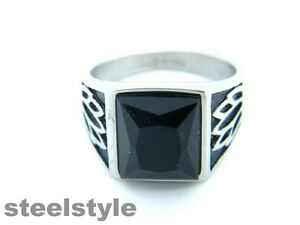 MEN'S CHUNKY SYGNET WITH BLACK STONE STAINLESS STEEL 316L RING