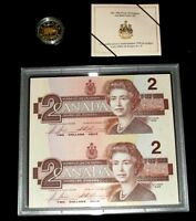 1996 Canada $2 Dollars PIEDFORT Coin Proof $2 x 2 Uncut BRX Replacement Notes