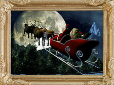 SANTA'S  SLEIGH on CHRISTMAS EVE - Dollhouse Picture FRAMED Art - MADE IN USA