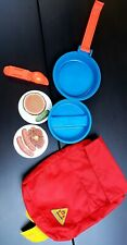 Vintage Fisher Price Toy Camping Backpack, Mess Kit, Fork & Spoon