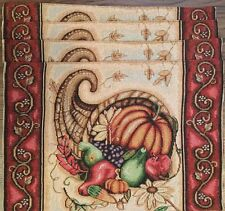 NWT Set Of 4 Thanksgiving Cornucopia Fabric Cloth Tapestry Table Placemats Decor