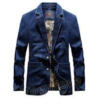 New Mens Two Button Coat Slim Fit Denim Cowboy Business Blazer Suit Jeans Jacket