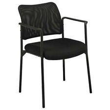 HVL516 MESH BACK STACKING GUEST CHAIR | FIXED ARMS | BLACK MESH
