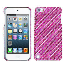 iPod Touch 5th & 6th & 7th Gen - DIAMOND BLING HARD CASE COVER PINK STRIPES DOTS