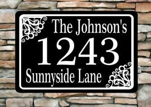 """Personalized Home Address Sign Aluminum 12"""" x 8"""" Custom House Number Plaque sq46"""