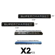 NEW Supercharged Interceptor Style Emblem Polyurethane Resin Emblems OE 2pc SET