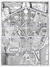 Mapa Antiguo Palacio Plan de Fer jardines de Versalles Park impresión de arte poster HP1443