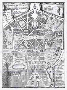 MAP ANTIQUE PALACE PLAN DE FER VERSAILLES PARK GARDENS ART PRINT POSTER HP1443