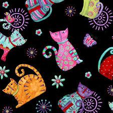 Fat Quarter Cool Cats Schwarz Bedruckte Baumwolle Quilting Stoff Whimsical Katzen