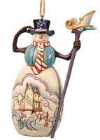 Jim Shore Christmas Snowman Hanging Ornament w/Staff & Winter Scene ~ 4036336