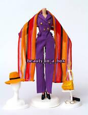 Purple Pantsuit Shawl Modern Ensemble Fashion for Barbie Doll Q