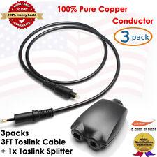 Toslink to Optical Mini Plug Digital Cable,3pcs + Toslink Digital Audio Splitter