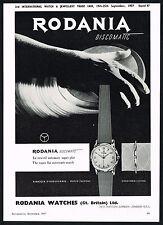 1950s Vintage 1957 Rodania Discomatic Watch Mid Century Modern Art Print Ad