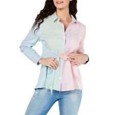 TOMMY HILFIGER Women's Striped Tie-front Cotton Button Down Shirt Top XL TEDO