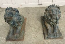 """Vintage Large Pair Of Cast Iron Garden Lions 23"""" By 27"""" By13"""""""