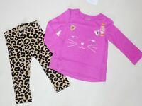 Gymboree Girls Cat Face Tee Fuzzy Leopard Leggings 12-18 18-24 3T 4T NWT