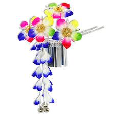 Japanese Hair Ornament Kanzashi Rainbow Flowers Silver Links Blue Wisteria Bells