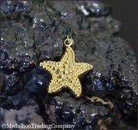14K Yellow Gold Beach Ocean Seashell Sand Dollar Starfish Charm Pendant 18mm