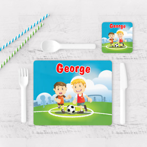 Personalised Football Soccer Boys Kids Children's Table Placemat & Coaster