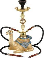 Shisha moderne Wasserpfeife Modell CAMEL gold/blau 43 cm mit 2 Schläuchen NEU