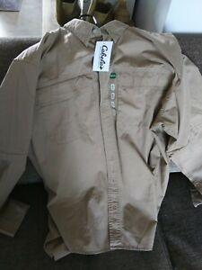 CABELAS Safari Series Zip Off Convertible Long OR Short Sleeve Tan Shirt XXLT
