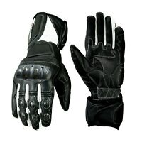 Vented Leather Motorcycle Gloves Knuckle Protection Winter Summer Gloves XS-4XL