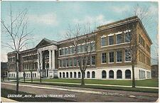 Manual Training School in Saginaw MI Postcard 1908