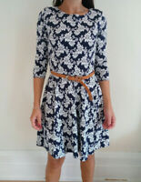 Club L Women's Navy Floral Dress With Belt, Size 16 - Brand New With Tags