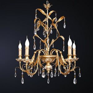 Chandelier 5 Lights Wrought Iron Pasta Of Wood And Crystal IN Leaf Gold