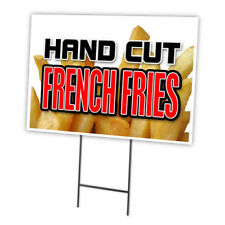 """HAND CUT FRENCH FRIES 18""""x24"""" Yard Sign & Stake outdoor plastic window"""